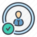 approved, check, done, person, profile, success, user icon