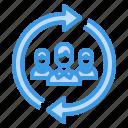 arrow, exchange, network, rotation, worker