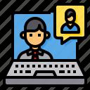 computer, interview, laptop, online, portfolio icon
