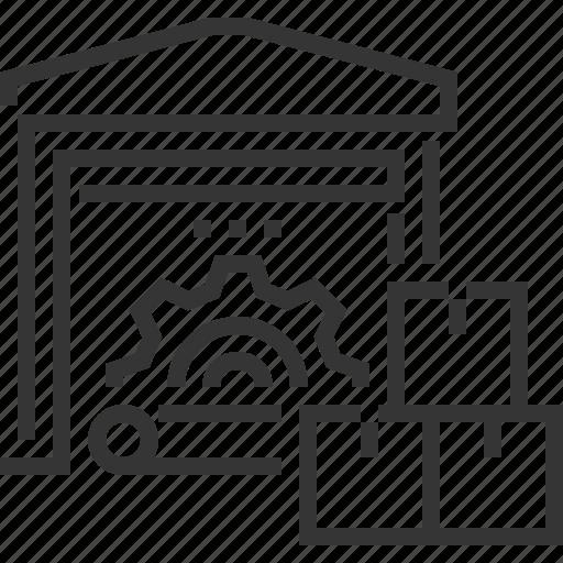 building, cargo, distribution, factory, logistics, warehouse icon