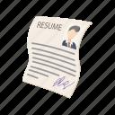 business, cartoon, cv, employment, job, layout, resume