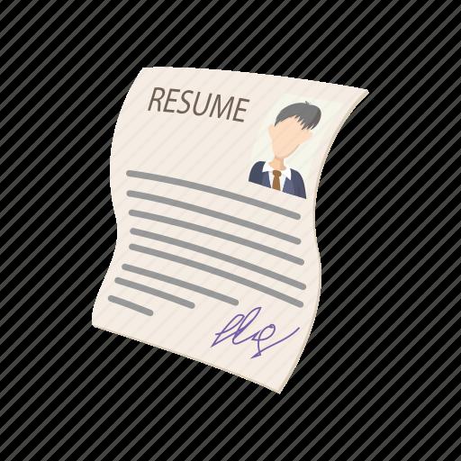 business, cartoon, cv, employment, job, layout, resume icon