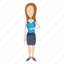 business, businesswoman, cartoon, female, people, person, woman icon
