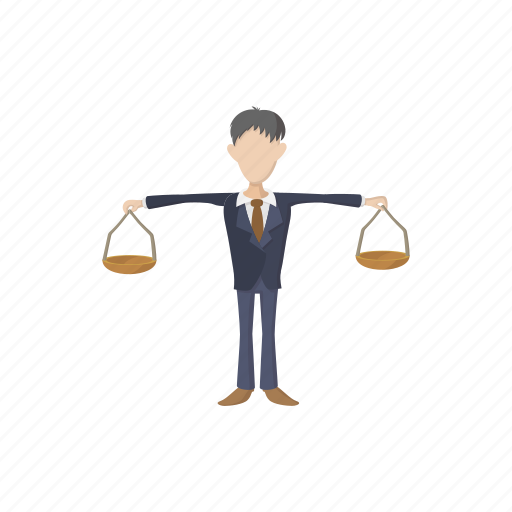balance, business, businessman, cartoon, concept, scale, weight icon