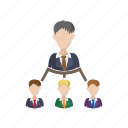 business, cartoon, hierarchy, leadership, organization, structure, team icon