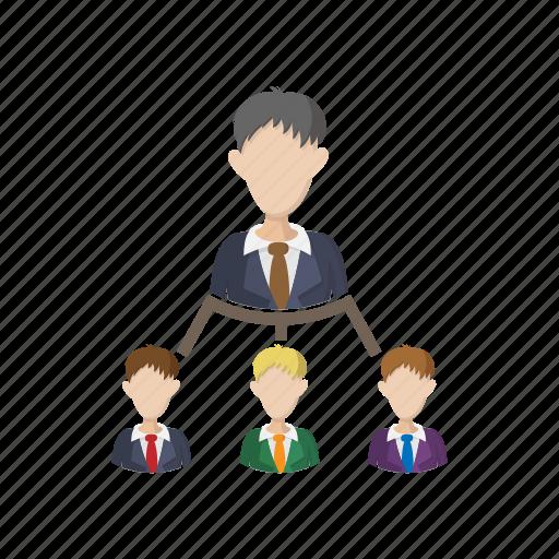 business, cartoon, hierarchy, leadership, organization, structure, team icon