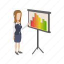 business, businesswoman, chart, comics, finance, graph, growth icon
