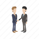 agreement, business, cartoon, corporate, hand, handshake, people icon