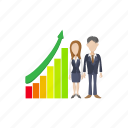 business, businessman, businesswoman, cartoon, chart, finance, growth icon