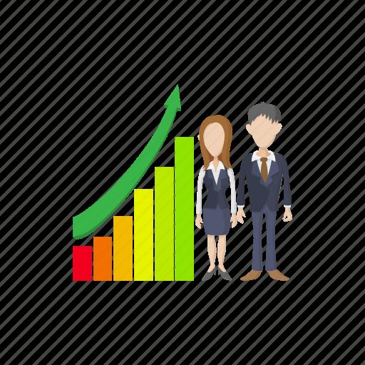 business, businessman, businesswoman, cartoon, chart, finance, growth icon
