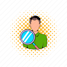 business, businessman, comics, magnify, people, person, search icon