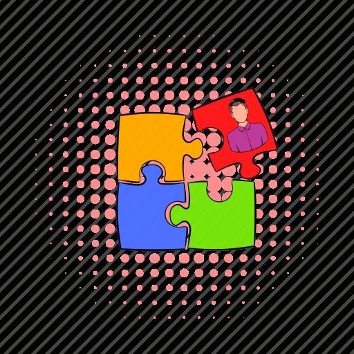 business, comics, idea, person, puzzle, solution, success icon