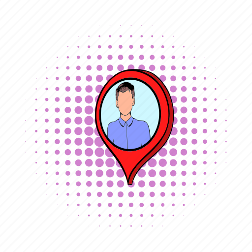 comics, location, man, map, mark, navigation, pointer icon