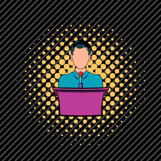 businessman, comics, podium, presentation, speech, talk, tribune icon