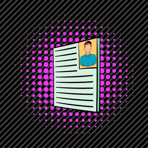 business, comics, cv, employment, job, photo, resume icon
