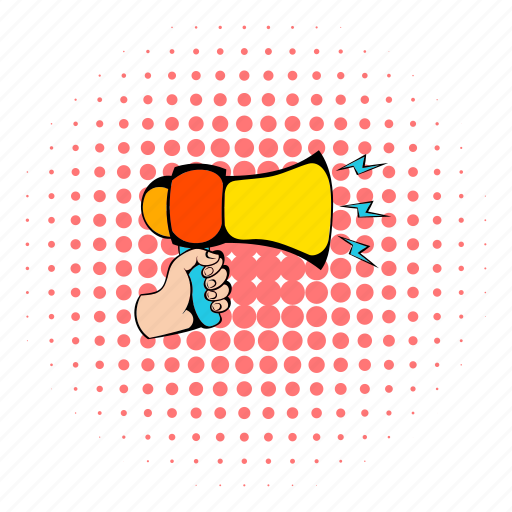 advertising, announcement, business, comics, megaphone, message, speaker icon