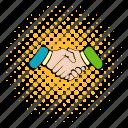 comics, contract, deal, hand, handshake, meeting, success