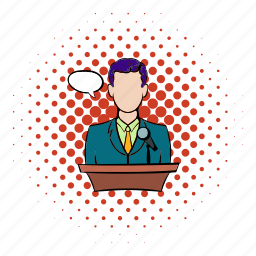 businessman, comics, podium, presentation, speech, talk, tribune icon