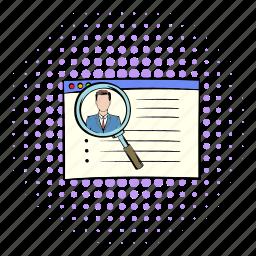 business, comics, job, profile, recruitment, resume, work icon