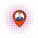 comics, location, man, map, mark, navigation, pointer icon