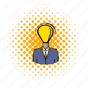 brain, bulb, business, comics, idea, intelligence, lamp icon
