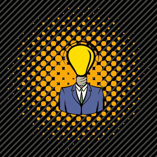 brain, bulb, business, comics, idea, intelligence, lamp icon