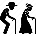 cane, elderly, grandparent, senior citizen, walking icon