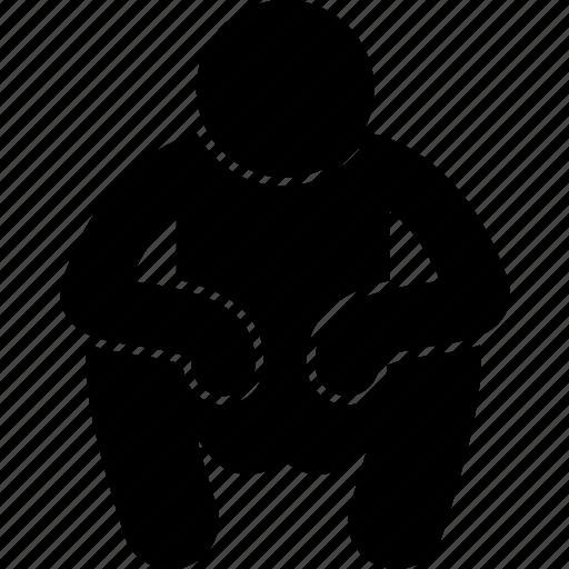 man, squatting, wait, waiting icon