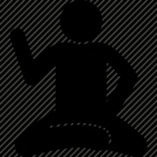 floor, man, sitting, story, telling icon