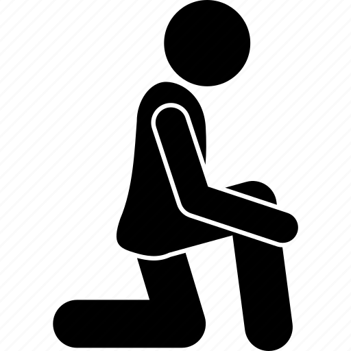bend, floor, knee, man, posture, squat icon