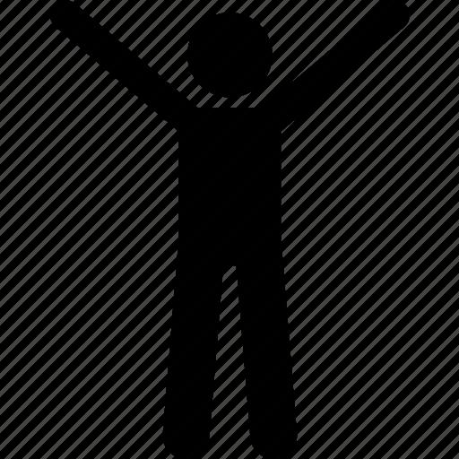 happy, man, stick figure, stickman, success icon