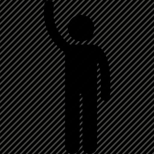 hand, hi, man, person, raise icon