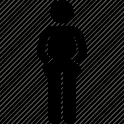 hand, inside, man, pocket, standing icon