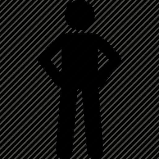 hand, man, standing, waist icon