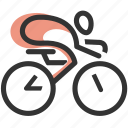 bicycle, bike, cycling, cyclist, human, messenger, sport icon