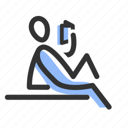 hobby, human, read, reading, relax, rest, resting icon