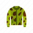 camouflage, cloth, fashion, front, jacket, sleeve, template icon