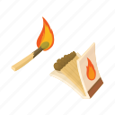 box, burning, cartoon, fire, flame, match, matchbox icon