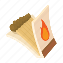 box, cartoon, fire, flame, matchbox, matches, red icon