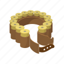 ammunition, bandolier, belt, cartoon, collected, lead, shell icon