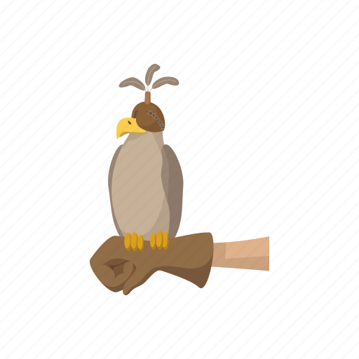 cartoon, eagle, falcon, falconer, glove, hawk, hunter icon