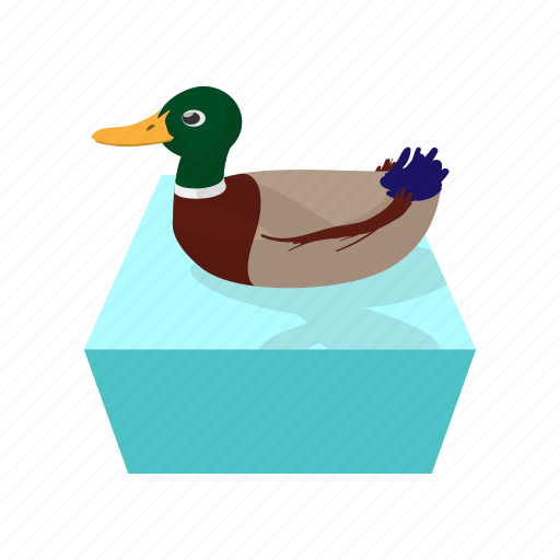 bird, cartoon, duck, fun, hunting, water, wild icon