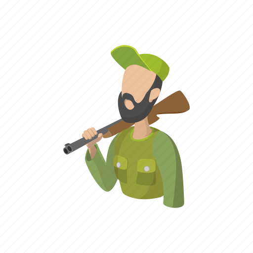 cartoon, gun, holding, hunter, hunting, man, sport icon