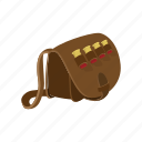 bag, bullets, cartoon, hand, hunter, leather, man icon