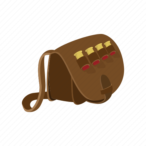 bag, bullets, cartoon, hand, hunter, leather, man icon
