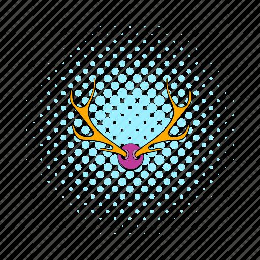 animal, antler, comics, deer, head, horn, stag icon