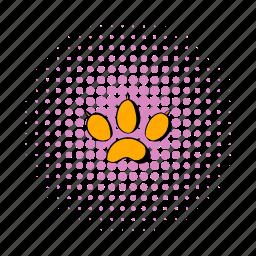 animal, comics, foot, paw, pet, print, silhouette icon