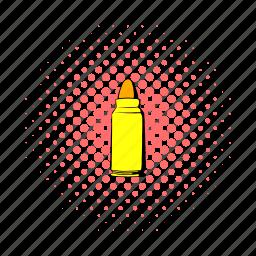 bullet, comics, gun, hunt, military, shot, war icon