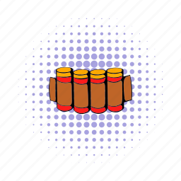 ammunition, belt, bullet, cartridge, comics, hunting, shell icon