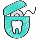 dental, dentist, floss, flossing, hygiene, hygienic icon